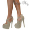 Ladies nude studs studded platform peep toe stiletto extreme high heels shoes