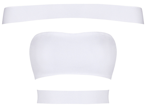 Bardot Cutout Panel Bandage Top White