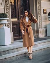 coat,long coat,wool coat,silk scarf,boots,blouse