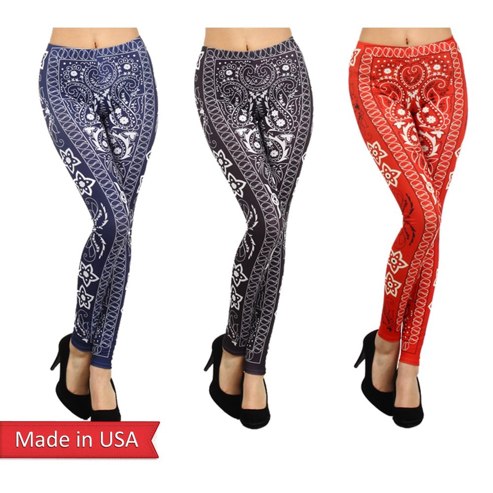 Sexy Bandana Paisley Sublimation Print Black Navy Red Leggings Tights Pants USA