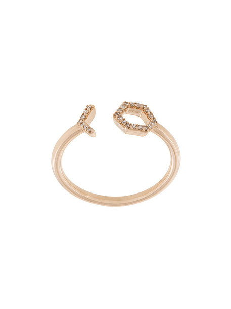 open rose gold rose women ring gold purple pink jewels