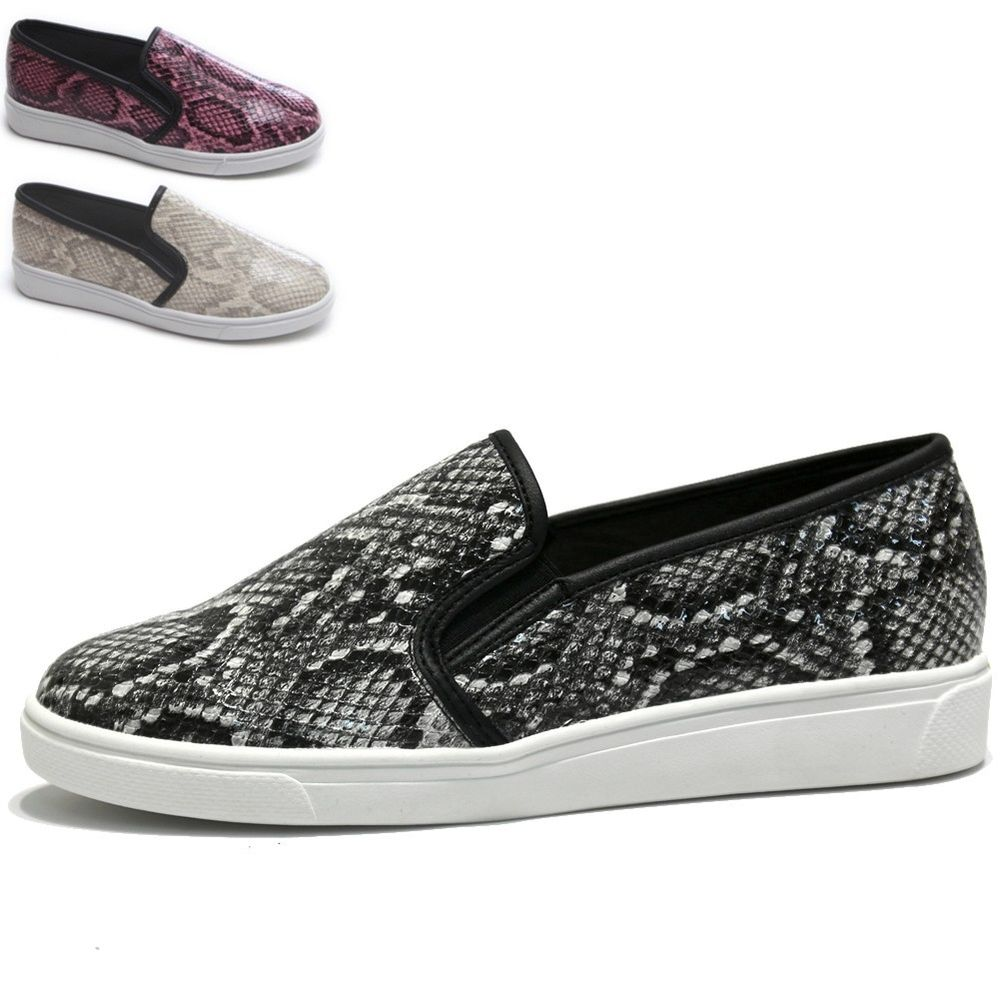 Womens snake print slip on sneakers python print low cut shoes