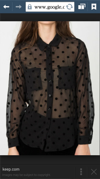blouse polka dot polka dots sheer chiffon leightonmeester see through