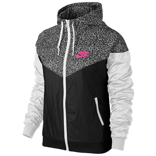 Nike Windrunner Aop Jacket Women S Black White Hyper Pink
