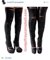 shoes,black,bandage,thigh highs,platform high heels,jeffrey campbell