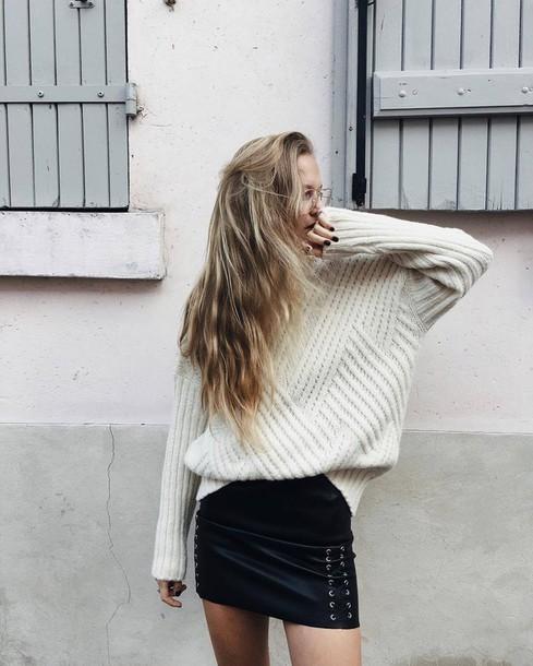 sweater tumblr oversized sweater oversized white sweater skirt mini skirt black leather skirt leather skirt