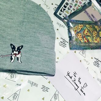 hat yeah bunny frenchie bimber dog dog print winter outfits cute french bulldog beanie grey beanie grey