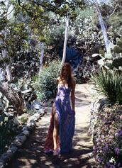 maxi dress,purple dress,floral,pink lining,strapless,slit,dress