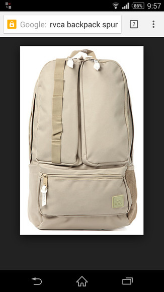 pockets bag backpack rvca menswear gift for him beige surf skate surf and skate zip