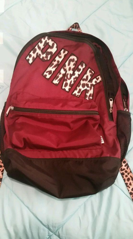 secret maroon campus backpack cheetah leopard EUC
