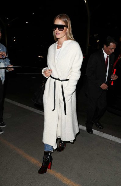 shoes ankle boots belt rosie huntington-whiteley coat model off-duty
