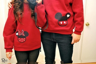 sweater heart sweater couple sweaters shoes mickey mouse minnie mouse jacket coat disney cute red mickey mouse hoodies minnie and mickey minnie mouse jacket polka dots couple mickey mouse sweater cute sweaters boyfriend girlfriend jumper heart relationship valentines day 2 sweaters one has mickey and the other minnie red red sweater disney sweater disney couples shirts disney couples sweatshirt couple tshirts disney his and hers clothes