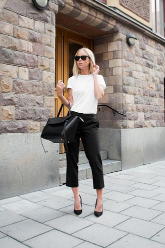 t-shirt monochrome black cigarette pants cigarette pants white t-shirt black tote celine celine bag black wayfarer black sunglasses black pumps