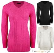 sweater,ladies,v neck,v-neck jumper,long sleeves,cable knit,knitwear,jumper,top,pink,black and white,black,white,cute,lovely
