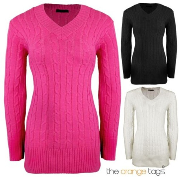 Sweater: ladies, v neck, v-neck jumper, long sleeves, cable knit ...