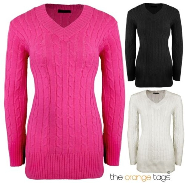 sweater ladies v neck v-neck jumper long sleeves cable knit knitwear jumper top pink black and white black white cute lovely