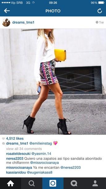 skirt pink black white skirt yellow