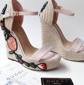 shoes,wedges,wedge sandals,embroidered,floral embroidered shoes,pink,light pink,pink shoes,light pink shoes,nude,nude shoes,all nude everything