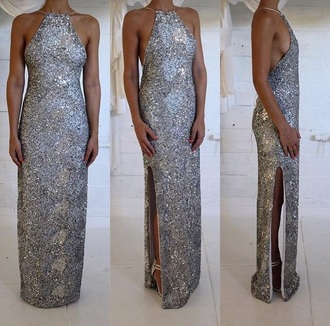 dress sequin maxi leg split halter halter-neck dress evening dress gown formal dress prom dress