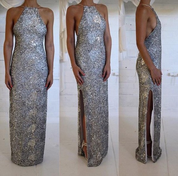 dress sequins maxi leg split halter neck halter dress evening dress gown formal dress prom dress