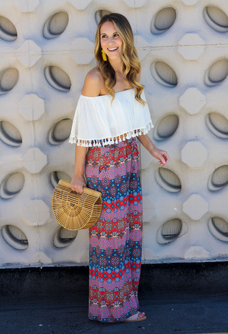twenties girl style blogger pants top jewels shoes bag cult gaia bag off the shoulder top maxi skirt summer outfits