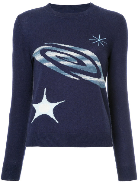 jumper space women blue knit sweater