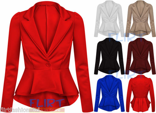 Womens Jacket Ladies Peplum Frill Shift Top Tail Back Cropped Blazer Party 8 14 | eBay