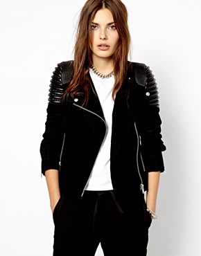 Mango | Mango Suede And Leather Biker Jacket at ASOS