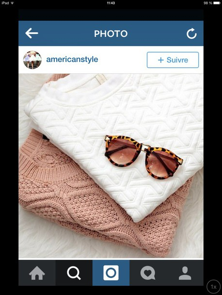 white sweater beige blouse white blouse knitwear knitted sweater leopard print leopard sunglasses pink classy style stylish everyday wear casual dusty pink t-shirt