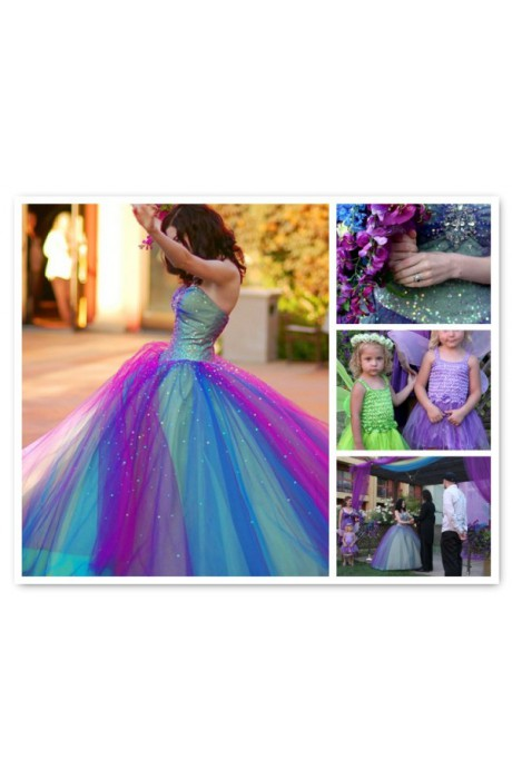 Color lace up tulle quinceanera dress