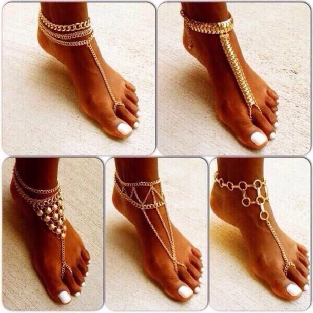 shoes jewelry sandals gold foot jewelry