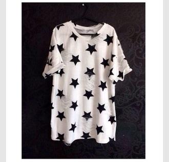 black t-shirt white stars