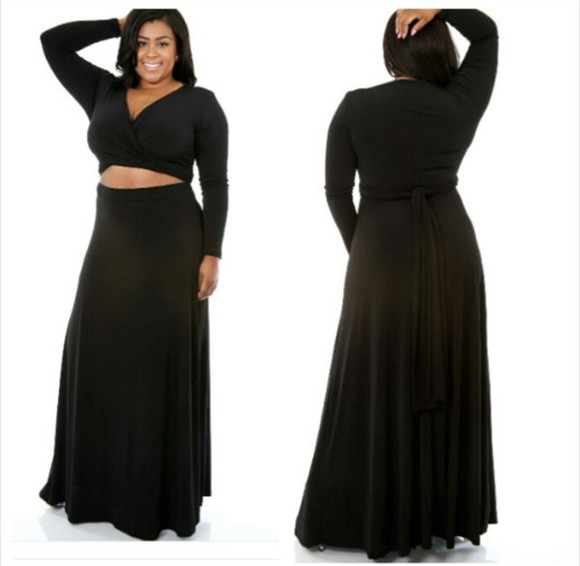 long sleeve maxi dress wrap around cutout plus