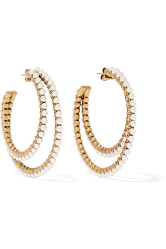 pearl earrings hoop earrings gold cream jewels