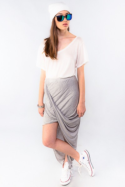 Gray Long Skirt - Gray Asymmetrical Drape Front Wrap | UsTrendy