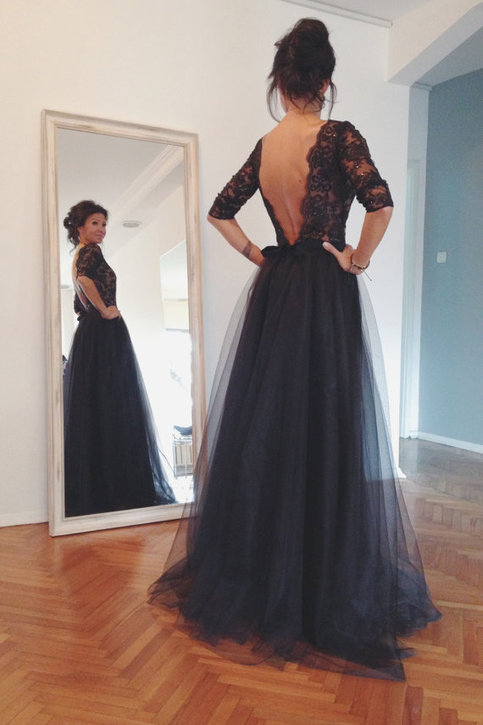 Black lace tulle long prom dresses, formal dresses