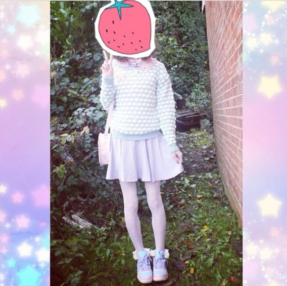 blue sweater kawaii purple shirt tennis shoes