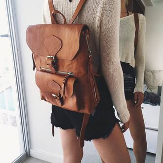 bag tumblr leather backpack backpack brown backpack sweater nude sweater short shorts black shorts denim shorts back to school college school bag