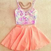 shirt,floral,skater skirt,bustier,peach,crop tops,skirt,dress,peach skirt,& a sexy top(:,blouse,cute outfits,pink,summer,summer outfits