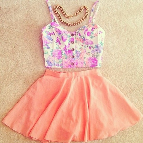shirt floral skater skirt bustier peach crop tops skirt dress peach skirt & a sexy top(: blouse cute outfits pink summer summer outfits