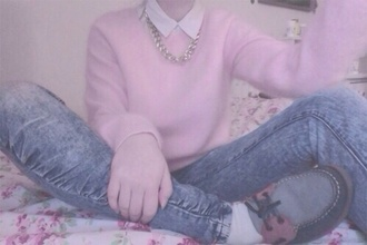 pants acid washed skinny jeans sweater jewels jumper necklace chain jeans skinny jeans shoes button up pink blue white
