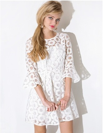 dress cute white summer bell sleeves summer dress spring dress lace white lace mesh pixie market pixie market girl