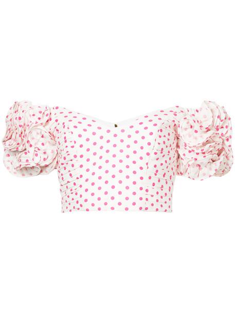 Bambah blouse ruffle women polka dots white silk top