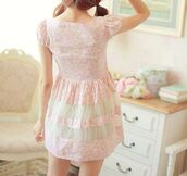dress,pink,floral,tulle skirt,kawaii