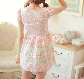 dress pink floral tulle skirt kawaii