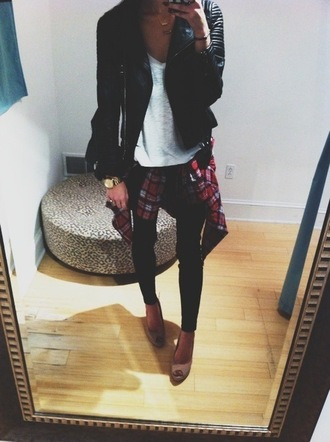 leather leggings jeans gold jacket leather jacket acid wash cardigan necklace heels watch flannel golden watch white t-shirt