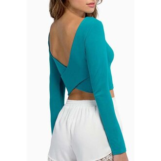 top blue sexy style stylish cute pretty girly scoop neck backless cool party edgy fashion fashionista turquoise long sleeves