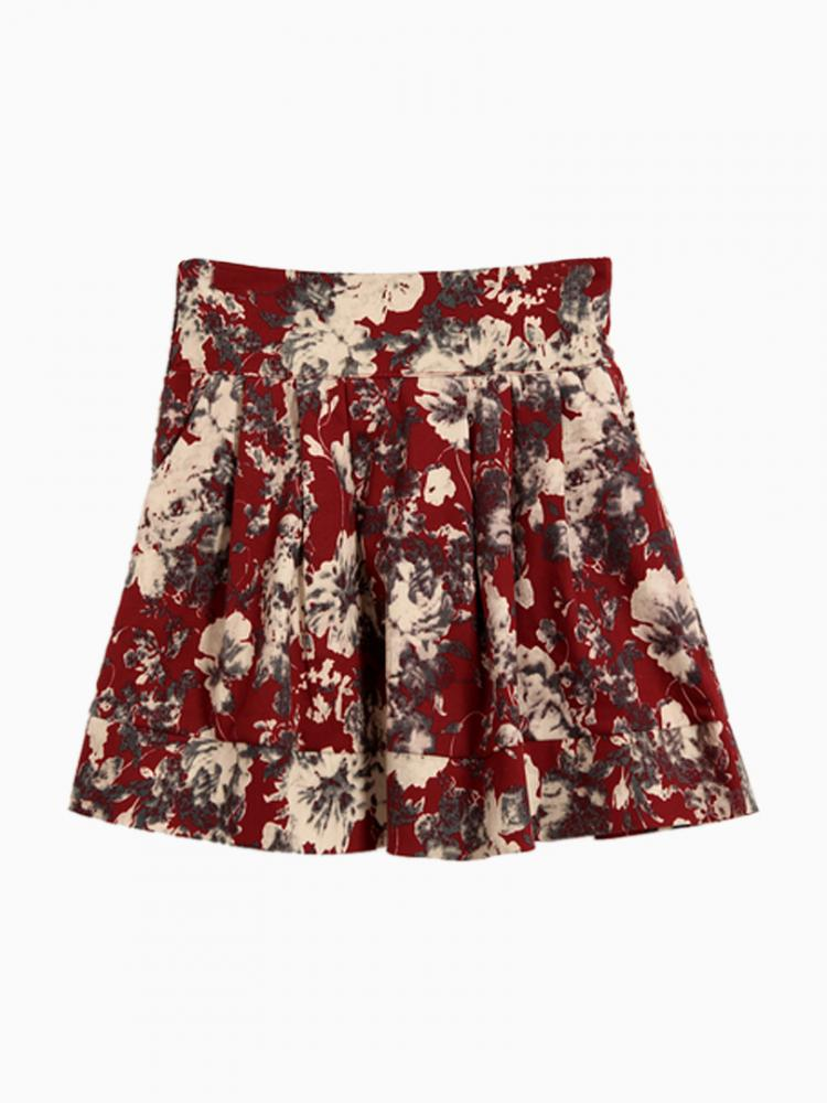 Elasticated waist red skirt in floral print