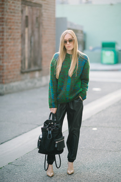 eat sleep wear blogger green sweater leather pants bucket bag sweater pants shoes jewels suede backpack