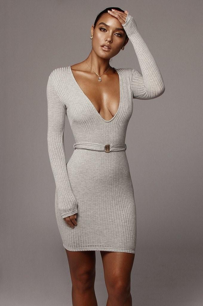 Grey Alondra Deep V Mini Dress